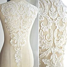 High-end Lace Fabric Ivory White Embroidered Applique High-end Wedding Dress Accessories Handmade(White)