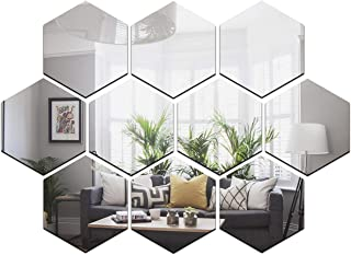 Wall1ders - Dakshita Decor 10 Hexagon Silver (Size 10.5 x 12.1 cm) 3D Acrylic Sticker, 3D Acrylic Stickers for Wall, 3D Mi...