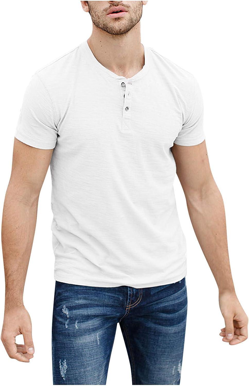 WUAI-Men Slim Fit Henley Shirts Short Sleeve Casual Basic Summer Fashion Baseball Button Shirts Tops