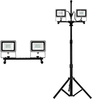 GALAX PRO Dual-Head 20W 4000 Lumen LED Work Light with Metal Lamp Housing and Telescoping Tripod(9 Ft Power Cord)