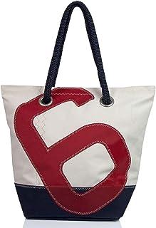 727 Sailbags 727Sailbags SAM, Strandtasche Shopper Shopping Bag Handtasche Damen aus recyceltem Dacron-Segel, Acrylboden Marineblau, Zahl 6 Blau,48 cm