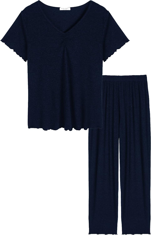 Ekouaer Pajamas Set for Women 2 Piece Short Sleeve Shirts & Pants Pjs Sets V neck Soft Stretch Sleepwear S-XXL