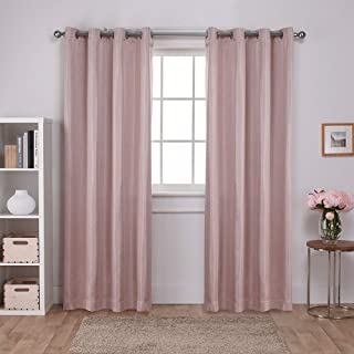 Exclusive Home Curtains Carling Basketweave Textured Woven Blackout Window Curtain Panel Pair with Grommet Top, 52x108, Blush, 2 Piece