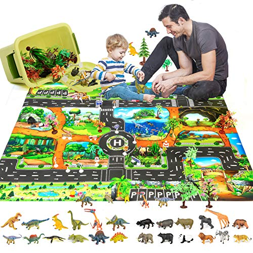 Cyiecw Dinosaur Play Mat, Super Large 51 x 43 Inch Dinosaur Toys Activity Play Mat 54 PCS Educational Dinosaur Toy Playset with Play Mat & Tree & Animal Toys Best Gifts for Kids