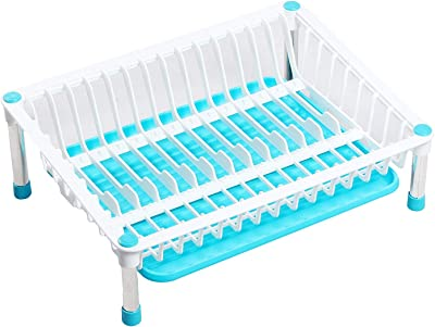 Whitecloud TRANSFORMING HOMES 3 in 1 Kitchen Sink Dish Drainer Drying Rack Washing Holder Basket Organizer with Tray (Blue)