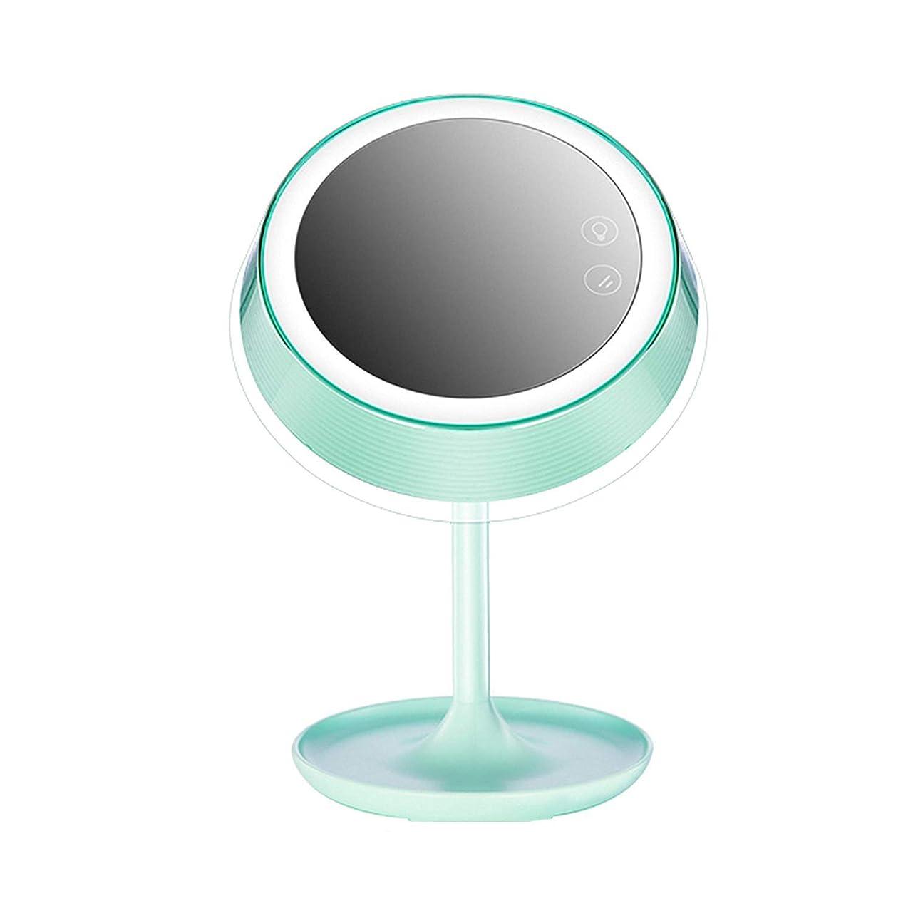 人に関する限りシュートエミュレートするLEDインテリジェントフィルライト化粧鏡点灯テーブルランプ寝室化粧料プラスチックミラーラウンドミラー収納トレイ付き,B
