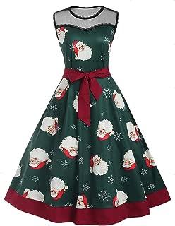 LODDD Christmas Dress Women Sleeveless Santa Claus Printing Bandage Lace Vintage Party Dress