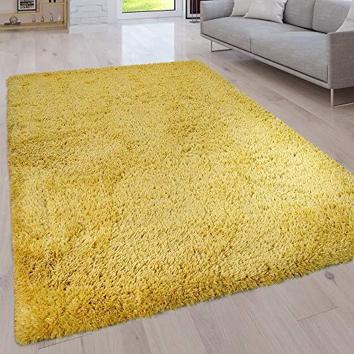 Paco Home Hochflor Wohnzimmer Teppich Waschbar Shaggy Uni In Versch. Größen u. Farben, Grösse:80x150 cm, Farbe:Gelb