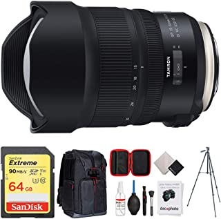 Tamron SP 15-30mm F/2.8 Di VC USD G2 Lens for Canon Full-Frame & APS-C DSLRs (AFA041C-700) + 64GB Memory Card + Photo Camera Sling Backpack + Vanguard 60