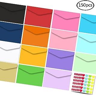 JPSOR 150 Pcs Mini Envelopes 15 Colors 3.2