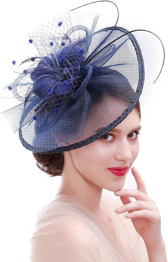 Panba Women Girl Fascinators Hair Clip Hairpin Hat Feather Cocktail Wedding Tea Party Hat