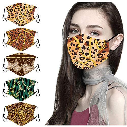 ShaDiao 1/5 Stück Erwachsener Leopard Modisch bedruckter Mundschutz Waschbar Wiederverwendbarer Mund-Nasen-Schutz Wind- und staubdichte Gesichtsbandanas