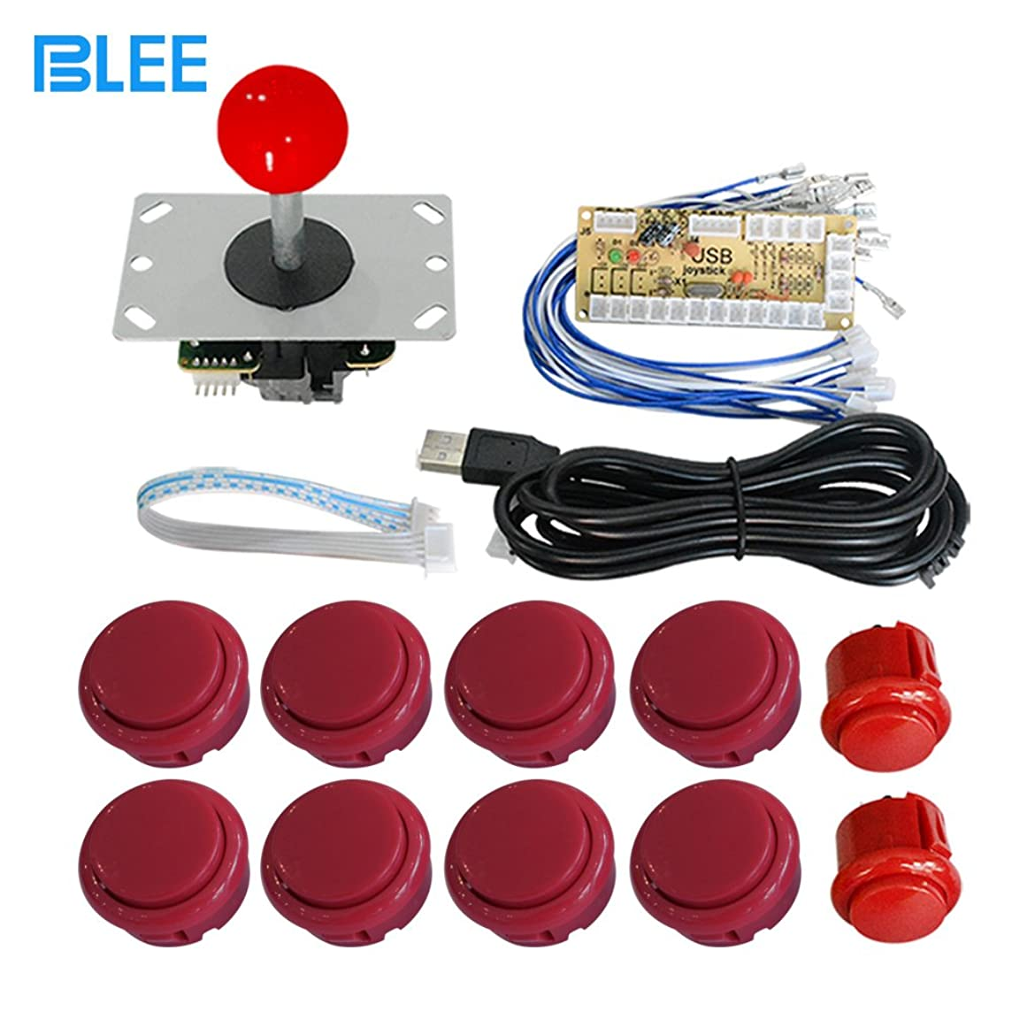 BLEE Zero Delay USB Encoder Board PC Arcade Game 5 Pin Joystick Cabinet DIY Parts Kit for Mame Jamma & Fighting Games Support All Windows Systems (Red)