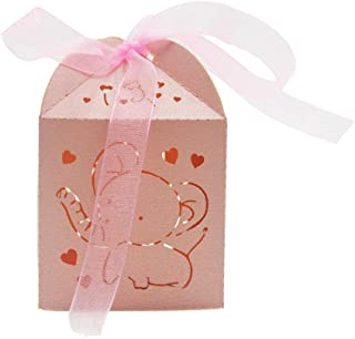 Kslong Wedding Party Favor Boxes Cajitas para Dulces Laser Cut Box 50Pcs for with Ribbon for Baby Shower Boys Girls Birthday Wedding Party