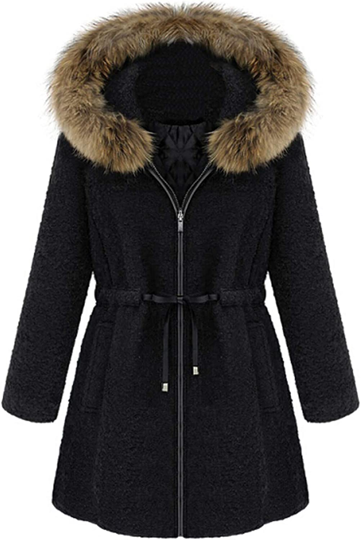 Moxiu Womens shop Hooded Warm Winter Draw Fleece Thicken Parkas Lined Max 50% OFF