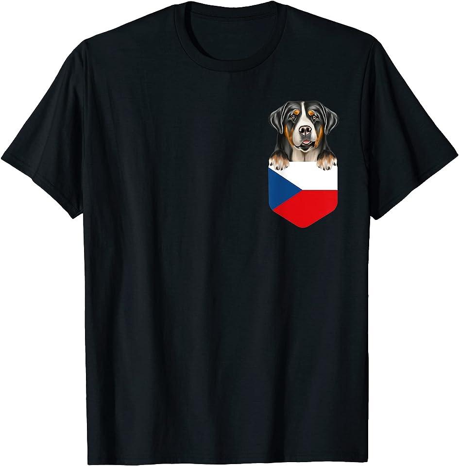 Czech Republic Flag Greater Swiss Mountain Dog Dog In Pocket T-Shirt