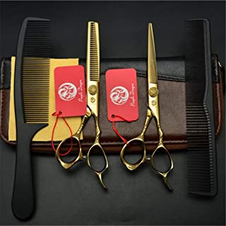 Professional Barber High-End Golden 6,0 Inch Hair Snijden Scharen Verdunnende Shears Comb 9CR Steel 4 delige Set kappers S...