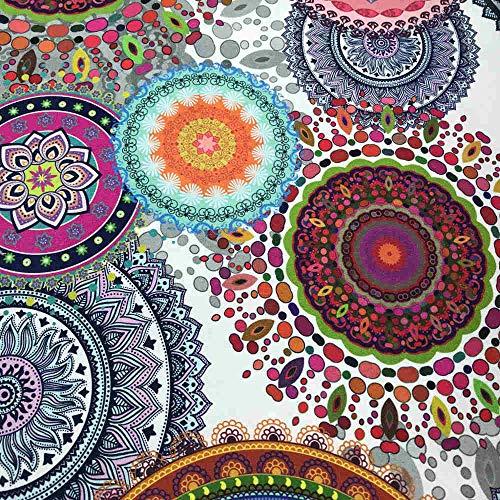 Kt KILOtela Tela por Metros de loneta Estampada Digital - Half Panamá 100% algodón - Ancho 280 cm - Largo a elección de 50 en 50 cm | Mandalas - Blanco, Multicolor