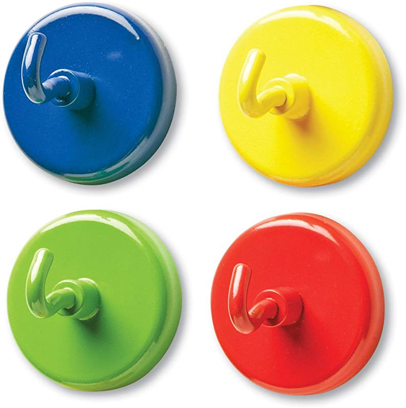 Learning Resources Super Strong Magnetic Hooks Set Of 4 Assorted Colors 1 Diameter