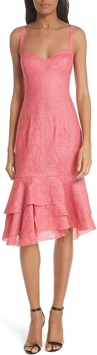 Milly Womens Kendal Linen Tiered Dress Poppy 2,6