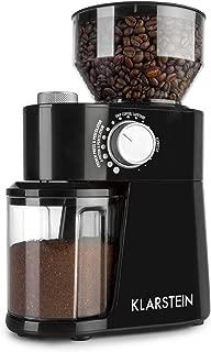 Klarstein Florenz Molinillo de Café (200W, triturado FlatBurr con disco de acero inoxidable, 18 tamaños de molienda, dosificador para 2-12 porciones, depósito de grano con 240 g de capacidad) Negro