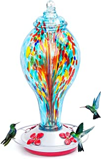 kemalida Hummingbird Feeders for Outdoors, 36 Ounces Hand Blown Glass Hummingbird Feeder with Upgraded Leak Proof Round Me...