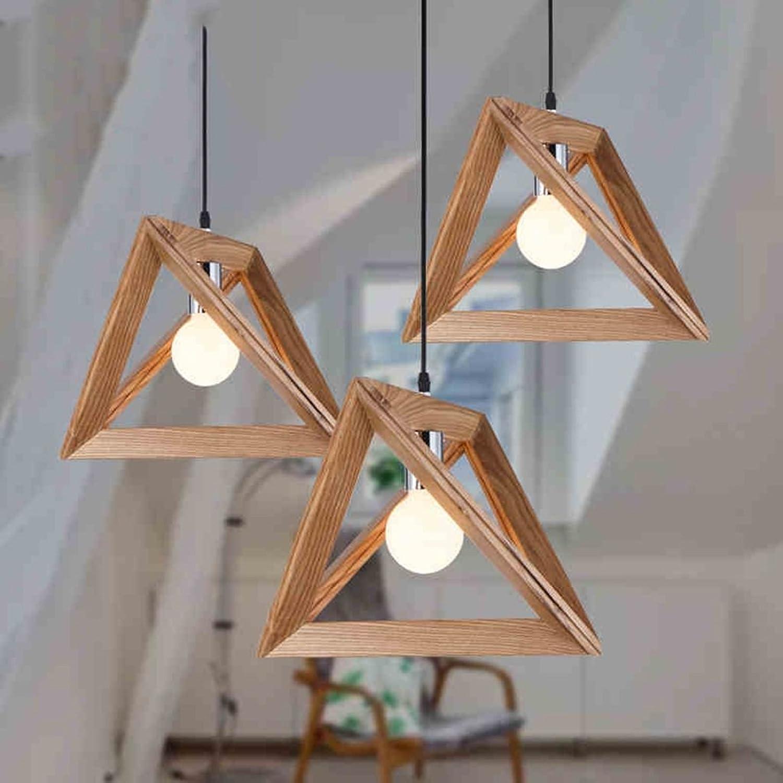 Retro-amerikanischen Stil Schlafzimmer Wohnzimmer Europische Stil Kreative Restaurant leuchtet Triangle Holzrahmen Kronleuchter Umweltfreundlich und langlebig (gre   34cm)