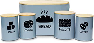 Metal Container with Lid – Premium Bread, Biscuits, Sugar Coffee Canister Set – Vintage Canisters and Bamboo Lids for Kitc...