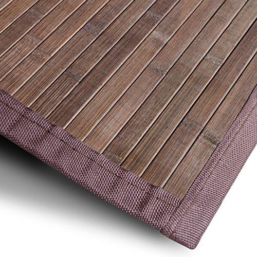 casa pura Bambusteppich Tibet (Braun) | für Bad und Wohnzimmer | natürlich wohnen Bambus | Bambusmatte in vielen Größen (90x120 cm)