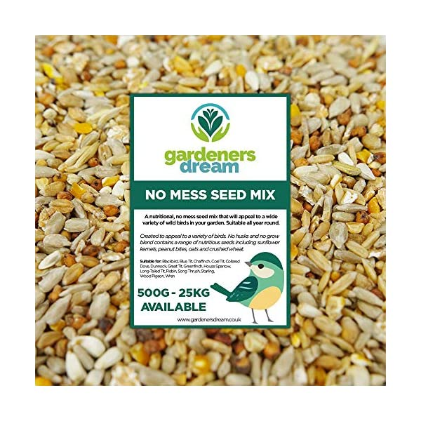 GardenersDream No Mess Seed Mix | Garden Wild Bird Food Mixture | Husk and Shell Free Seeds | Premium Quality Balanced Formula | Protein-Rich Great Source of Energy | Attracts Various Birds