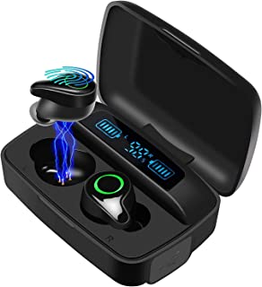 DuoTen Waterproof Wireless Earbuds, Bluetooth 5.0 Wireless Headphone 156H Playtime Hi-Fi Stereo Sound, IPX7 Waterproof in-Ear Wireless Earphones w/Mic LCD Digital Display 2200mAh Rechargeable Case