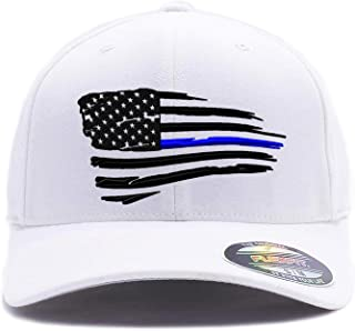 Thin Blue Line and Thin Red Line Waving USA Flag. Embroidered. 6477 Wool Blend and 6277 Flexfit Wooly Combed Twill Cap