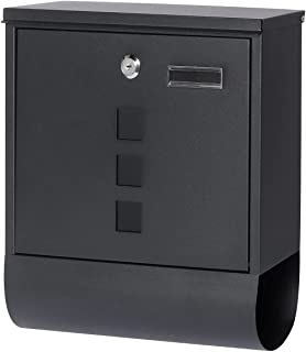 Jssmst Locking Mailbox Wall Mount, Black Mailboxes with Secure Key Lock and Newspaper Compartment, Key Lock Drop Box Large...