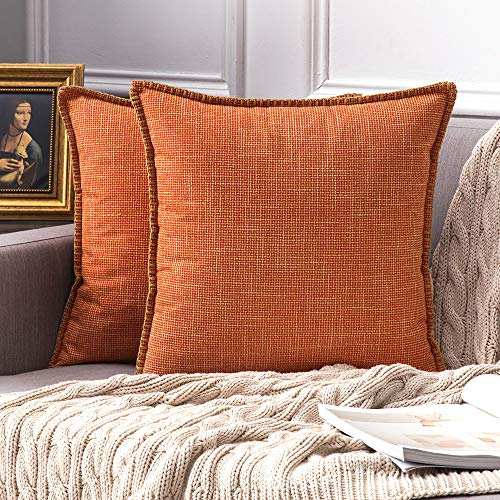 MIULEE Pack of 2 Fall Decorative Throw Pillow Covers Farmhouse Modern Trimmed Cord Linen Burlap Cushion Cases Vintage Decor Pillowcases for Couch Sofa Bedroom 18 x 18 Inch Orange