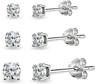 3 Pair Set Sterling Silver Cubic Zirconia Round Stud Earrings Set, 3mm 4mm 5mm