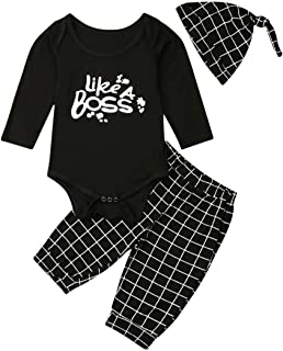 Toddler Baby Boy Girl Clothes Cotton Long Sleeve Boss Letter Romper+Plaid Pants+Hat Bobysuit Pajamas Outfits