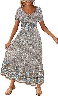 Howely Women's Swing Beach Print Loose Casual Long Maxi Dress