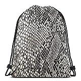 NPNP Mochilas con cordón Bolsa de lavandería Textura de Piel de Serpiente Bolsa de Almacenamiento Bolsa Mochila con cordón Bolsa Lavable a Prueba de Polvo Respirable No Transparente Mochila Deportiva
