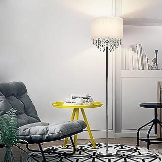 Depuley Lampadaire moderne à LED en cristal chromé, blanc chaud 3000 K, lampe de sol à LED avec support d'ampoule E27 pour...