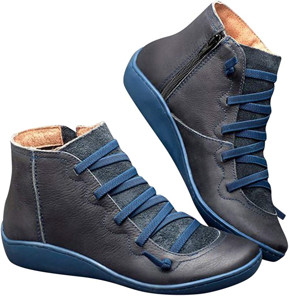 Eduavar Ankle Boots for Women Fashion Lace Up Cowboy Short Boots Comfort Casual Round Toe Combat Low Heel Ankle Booties