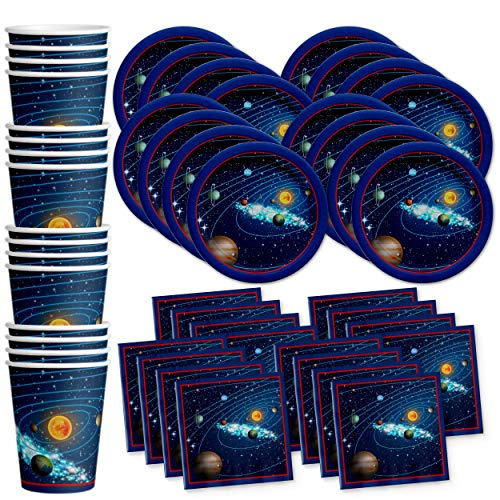 Solar System Outer Space Birthday Party Supplies Set Plates Napkins Cups Tableware Kit for 16 by Birthday Galore