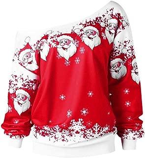 Women Casual Pullover Plus Size Blouse Merry Christmas Santa Print Off Shoulder T-Shirt Loose Sweatshirts Tops