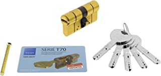 Tesa Assa Abloy Cilindro de Alta Seguridad, Llave - Leva Larga, Latonado, 30x30mm