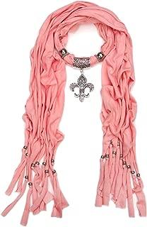 Elegant Charm Pendant Jewelry Necklace Scarf w/Fleur de lis Medallion-11 Colors