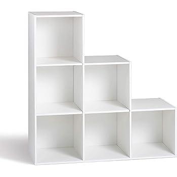 Compo Meuble De Rangement 6 Casiers En Escalier Bibliotheque Etageres Cubes Blanc 93 X 29 5 X 93 Cm Amazon Fr Cuisine Maison