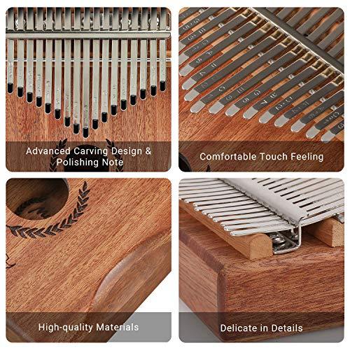 Mugig Kalimba 17 keys with Protection Box and Tune Hammer, Portable Thumb Piano Mbira Sanza Mahogany Body Ore Metal…