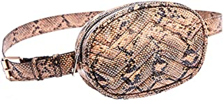 Waist Bag for Women Snakeskin Fanny Pack Stylish Quilted Belt Bag Purse PU Waist Pack for Travel (Fanny Packs for Brown)