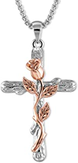 SNZM Natural Flower Plant Cross Pendant Chain Necklace in...