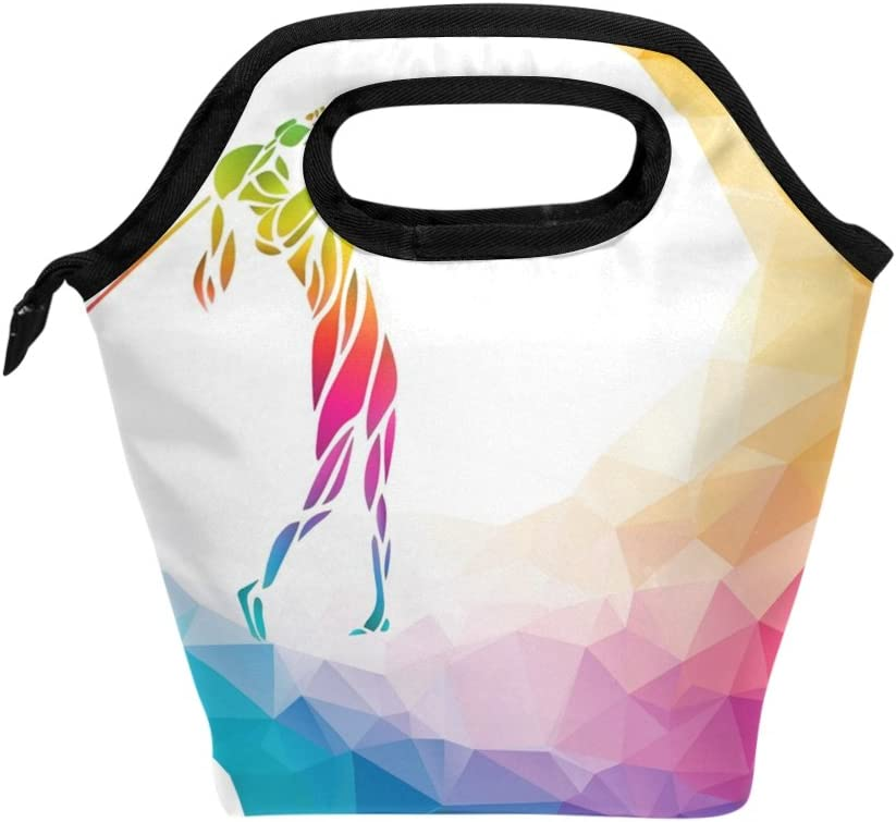 BETTKEN Lunch Bag Rainbow Geometric Reusable Golf Ball Shipping included Insulated Super special price