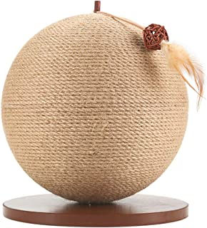 Sisal Cat Catching Ball, Spherical Cat Scratch Board, Solid Wood Material, Outer Weaving Straw is Strong and Durable, Stable and Refined Base